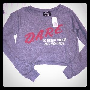 NWT Vintage F21 DARE Grey Red Crop Sweater S